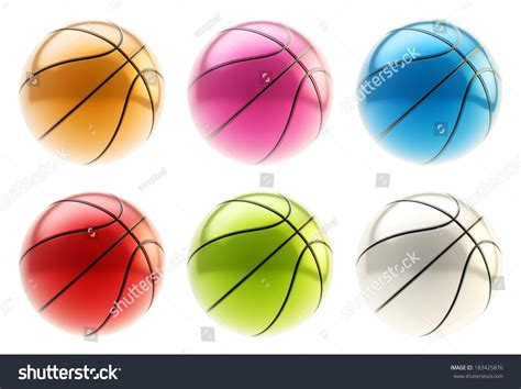colorful basketball colorful metal basketball 3d render stock