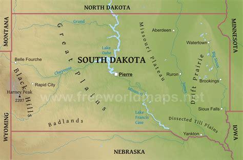 physical map of dakota physical map of south dakota