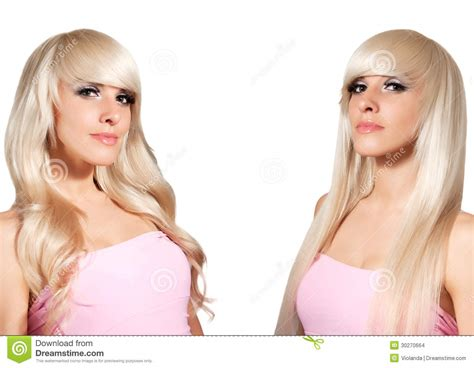 woman with lots hair blonde with different styling straight hair and curls