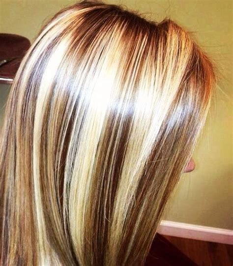 chunking or highlighting brown hairstyle chunky chocolate lowlites and blonde highlights hair
