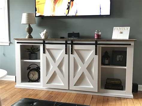 White Grandy Sliding Door Console Diy Projects