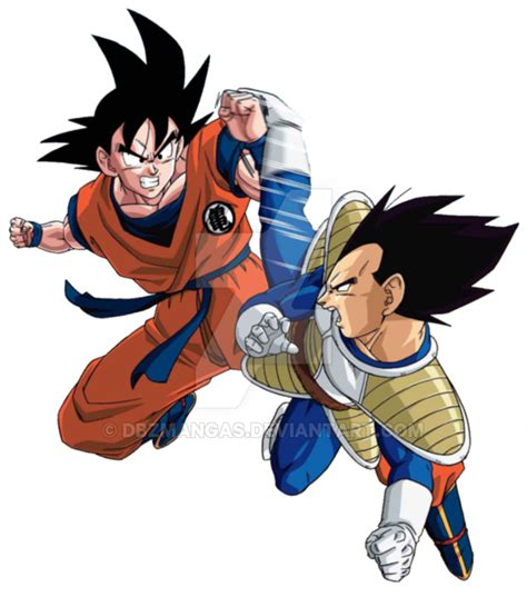 imagenes de goku luchando vegeta vs goku render by dbzmangas on deviantart
