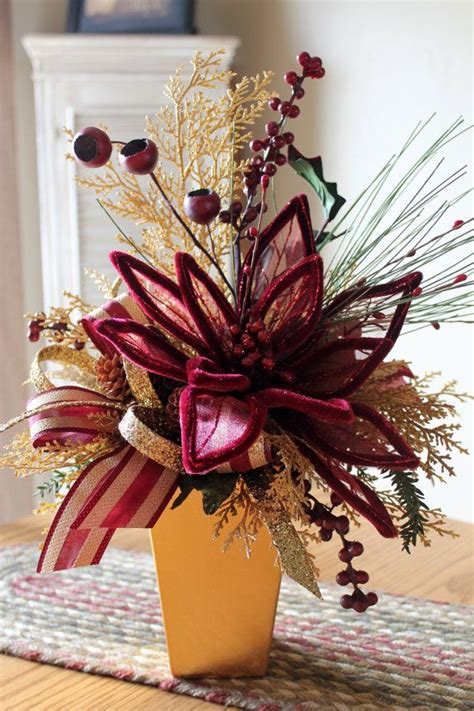 christmas burgundy gold and pearls burgundy gold centerpiece free by floralsfromhome 68 00 ideas for work