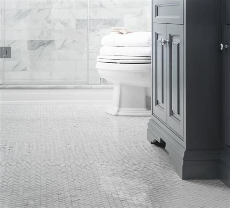 White Floor Tiles For Bathroom by White Herringbone Bathroom Floor Tiles Design Ideas White