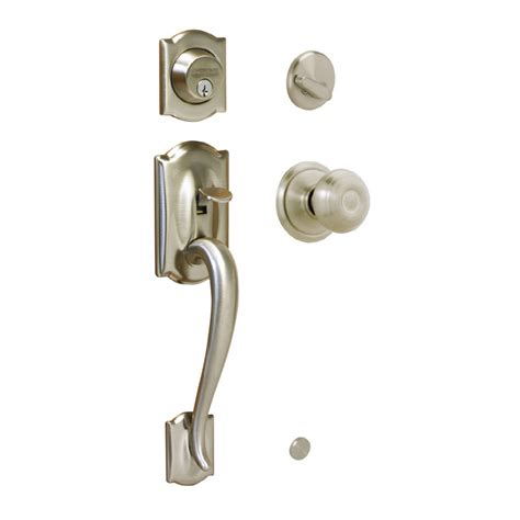 front entry door handlesets shop schlage camelot satin nickel single lock keyed entry