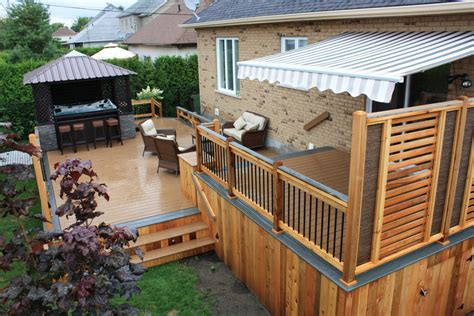 semi privacy fence Deck Contemporary with bois traite cedar deck   beeyoutifullife.com