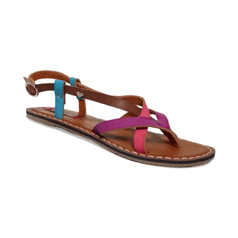 strappy sandals chickadee strappy flat sandals in purple lyst