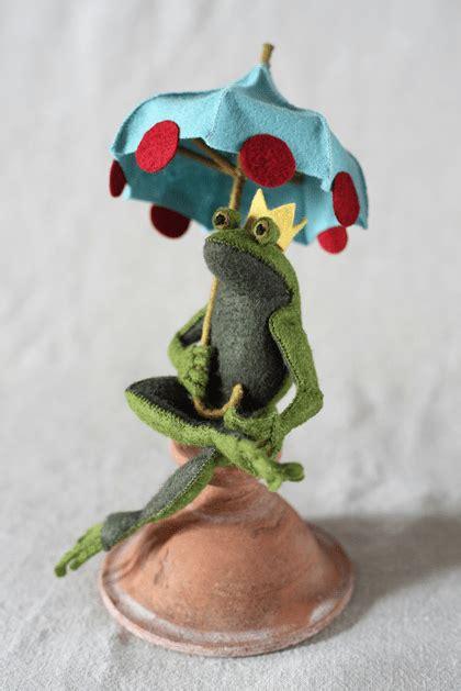 Frog Pattern Umbrella | how to miniature felt umbrella make