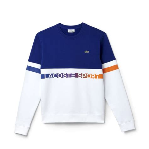 lacoste sweatshirt lacoste sport en molleton color block avec lettrage sh2104 00 france blanc