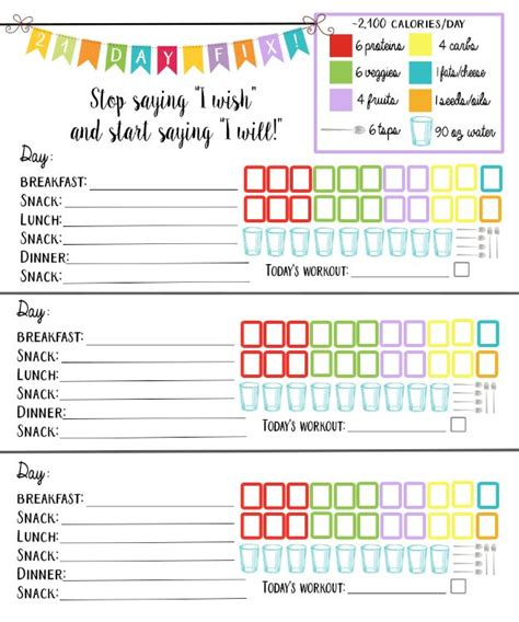 printable meal planner with calorie counter 21 day fix 2 100 calorie bracket daily meal planner and