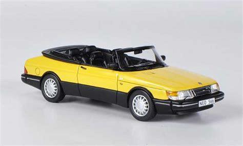 saab 900 1987 convertible yellow black neo diecast model