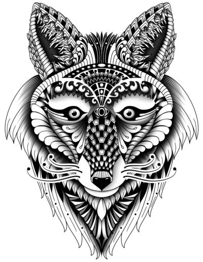 fox mandala coloring page ornate foxy wolf zandiepants