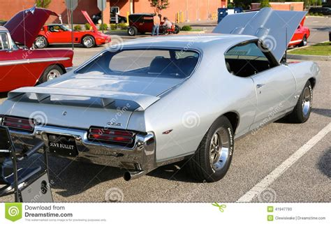 general motors pontiac division rear view of 1969 silver pontiac gto editorial stock photo
