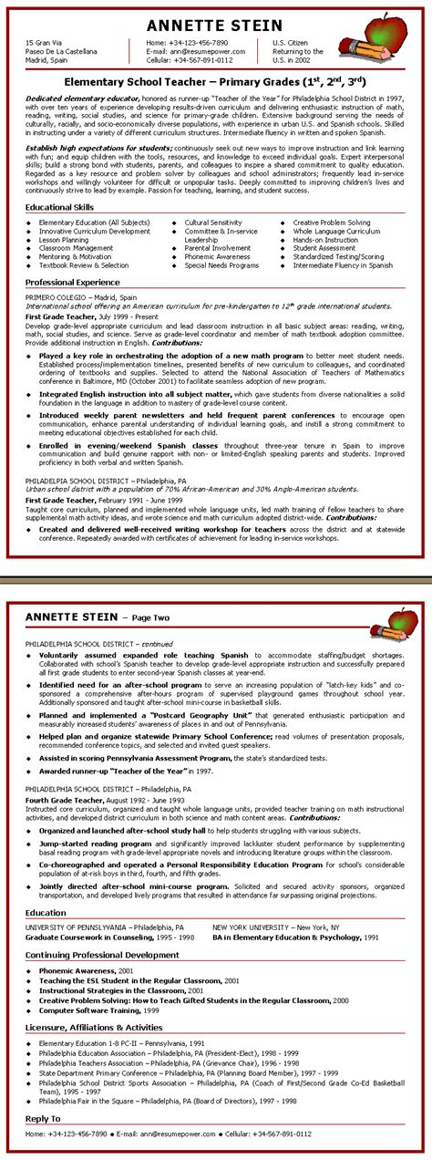 elementary school resume template resume sles by advanced career systems inc