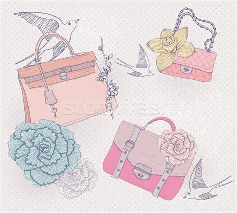 fashion illustration with background fashion illustration background with fashionable bags flowers vector illustration 169 dovile