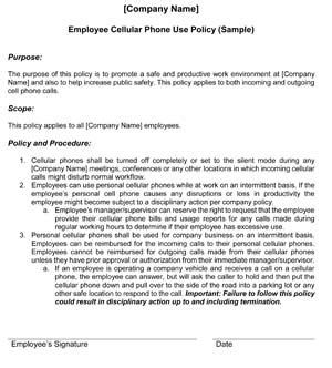 company cell phone policy template business policies procedures small business free forms