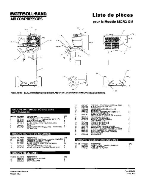ingersoll rand ss3r2 gm air compressor parts list manual