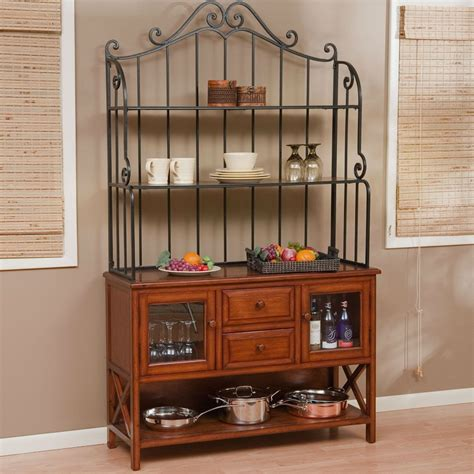 wrought iron decor top 47 inch bakers rack heritage oak