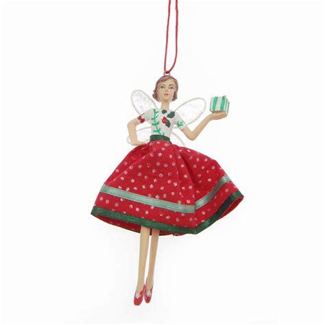 gisela graham vintage fairy mistletoe skirt carrying a cupcake christmas tree decoration