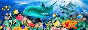 sea life wall murals dolphin light mural