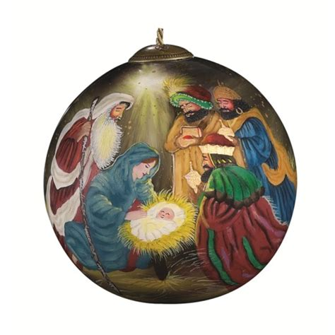 hand painted three kings glass christmas ornament the