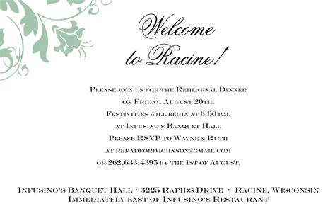 Rehearsal Dinner Invitation Quotes Invitation Templates Welcome Invitation Template