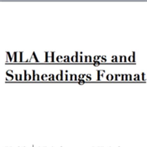 mla format headings  subheadings tutorial sophia
