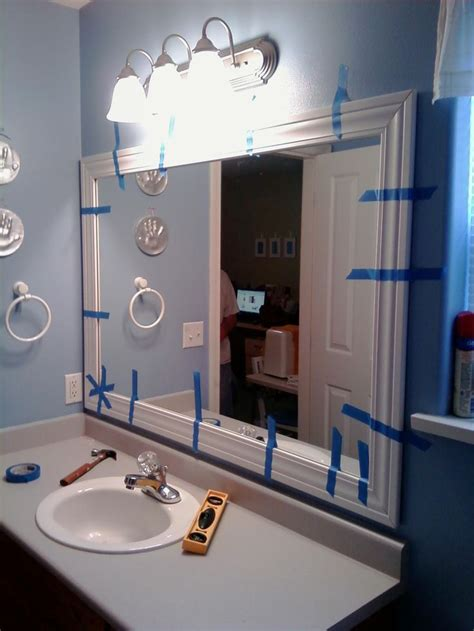 this thrifty house framed bathroom mirror 1000 ideas about bathroom mirror redo on pinterest