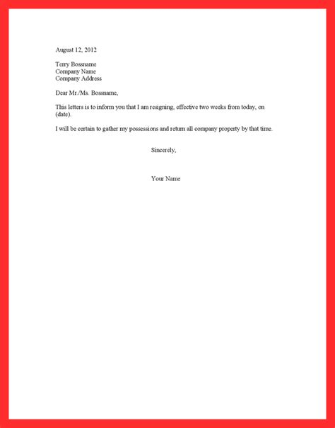 proper 2 weeks notice resume format