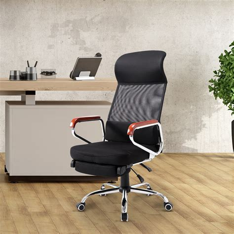 Reclining Office Chair With Leg Rest by Homcom Mesh High Back Reclining Office Chair With Foot Rest Black Home Office Sale