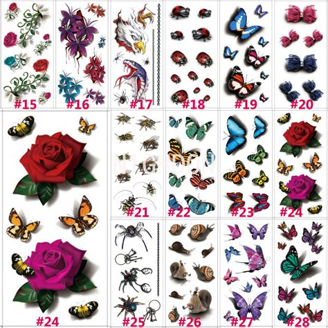 Sticker Stiker Tato Butterflytemporary 1 1 pc 190x90mm 3d chest sleeve stickers glitter temporary tattoos butterfly bows