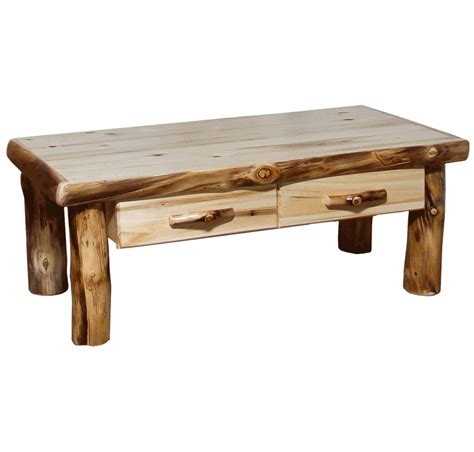 Log Coffee Table Aspen Log Square Coffee Table With Drawer Rustic Log Furniture Of Utah