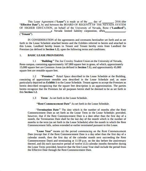 Downloadable Lease Agreement Template landlord lease agreement 9 samples examples amp format