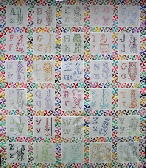 Embroidery Quilts by Abc Embroidered Quilt Top Q Is For Quilter