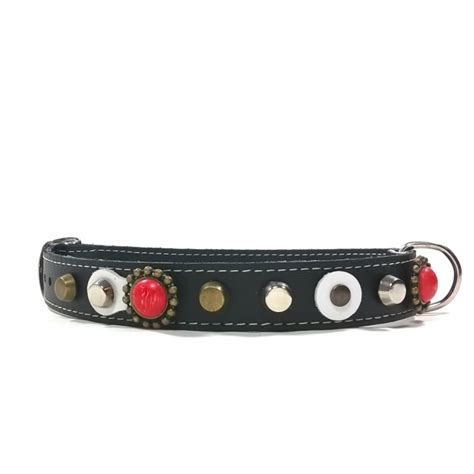handmade leather collar for small dogs with coral