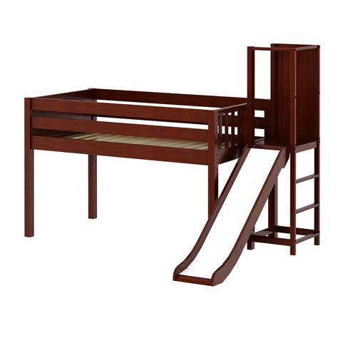 platform bed in chestnut with curved bed ends by maxtrix 200 maxtrixkids hocus cp low loft bed with slide platform
