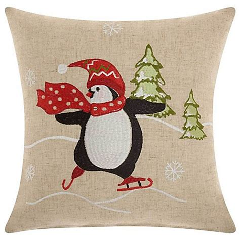 bed scarves and matching pillows reinvest consultants mina victory holiday penguin skating square throw pillow