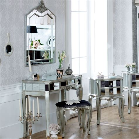 silver mirrored dressing table stool mirror ornate bedroom