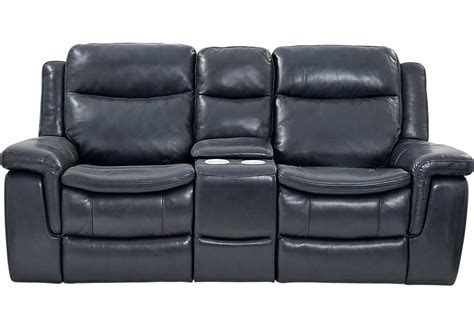 reclining leather loveseat with console milano blue leather power plus reclining console loveseat