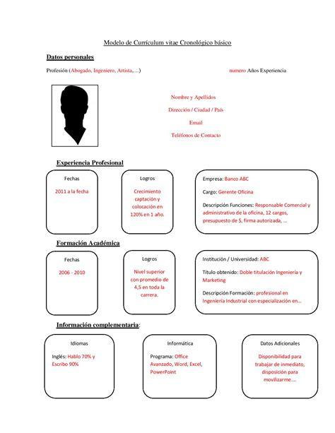 Modelo Curriculum Ministerio De Trabajo el cl 225 sico cv cronol 243 gico curr 237 culum entrevista trabajo