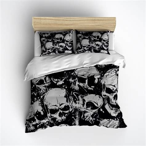 skull bed set grunge black and grey skull bedding ink and rags