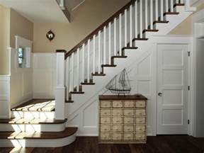 entryway staircase with coastal charm hgtv
