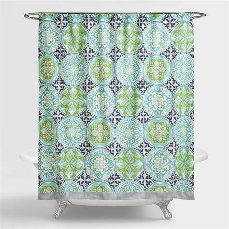 Blue And Green Shower Curtains Blue And Green Gabriella Shower Curtain World Market