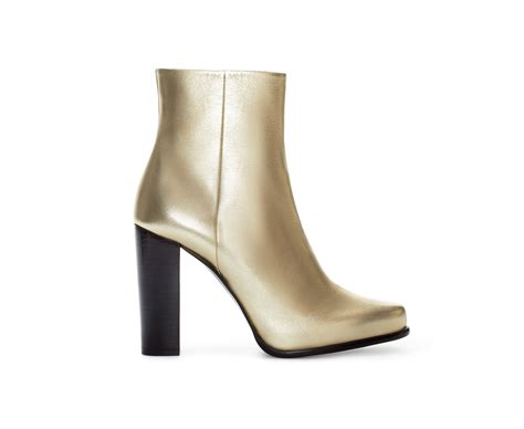 zara gold leather ankle boot in gold lyst