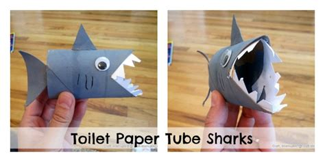 toilet paper tube shark puppet dollar store crafts