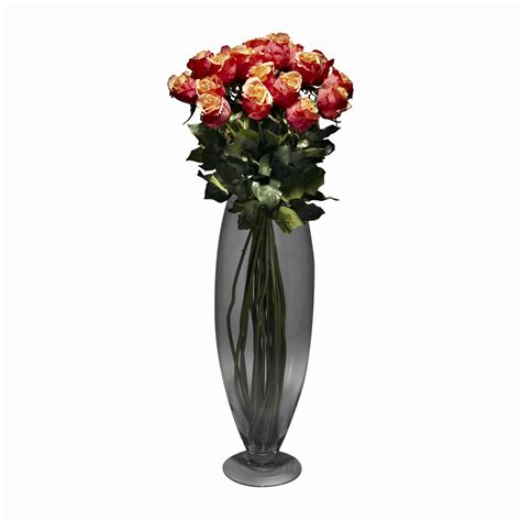 Flower Arrangements With Vases by Cherry Silk Flower Arrangement Glass Oval