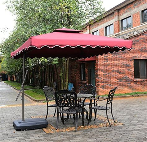 12 Ft Patio Umbrella Tylor S Garden 7 1 2 Ft Cantilever Outdoor Patio Umbrella With Cross Stand Uv Resistant 100
