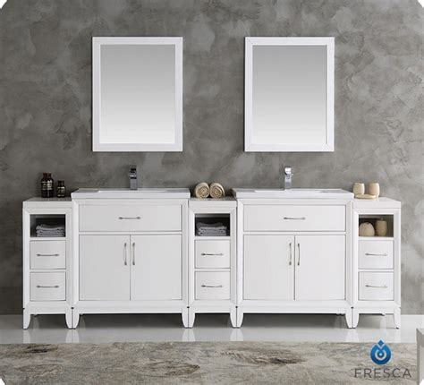 96 bathroom vanity fresca fvn21 96wh cambridge 96 inch white sink traditional bathroom vanity with mirrors