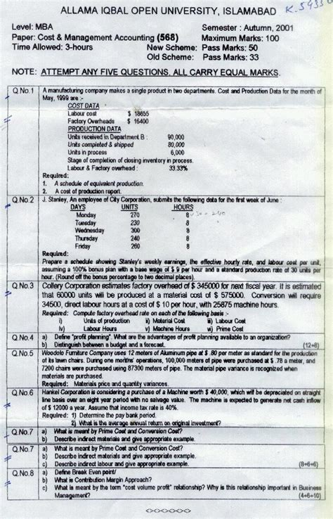 Aiou Mba Program by Aiou Mba Cost And Management Accounting Papers