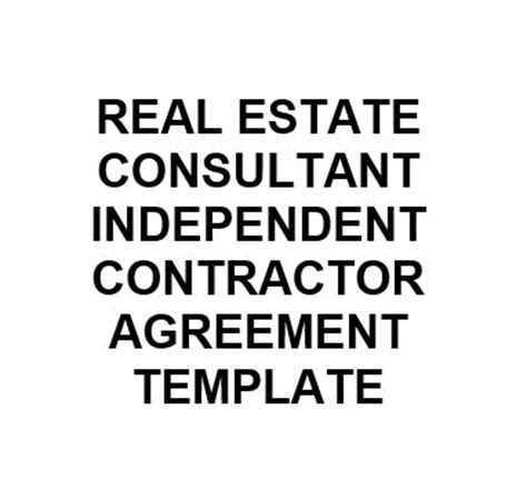 real estate independent contractor agreement template ne0274 real estate consultant independent contractor